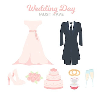 美しい結婚式の要素の様々な