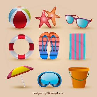 Variety of realistic summer objects