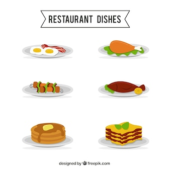 Variety of restaurant dishes