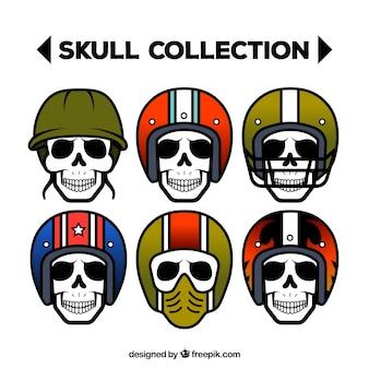 Разнообразие черепов с цветными шлемами