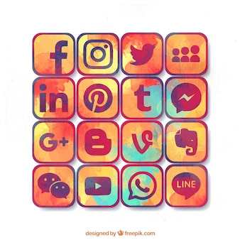 Variety of social media watercolor icons