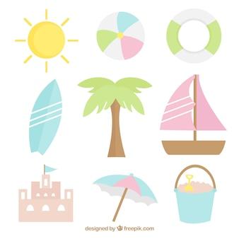 パステルカラーの夏の要素の様々な