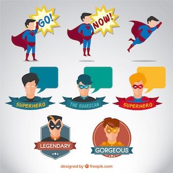 スーパーヒーローのキャラクターの様々な 無料ベクター