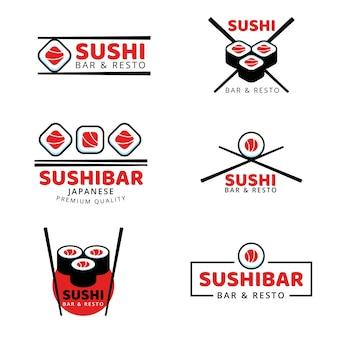 Разнообразие набора логотипов суши
