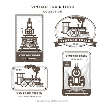 Разнообразие поезда логотипы в винтажном стиле