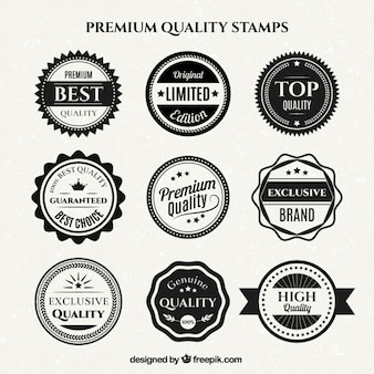 Stamp vectors photos and psd files free download variety of vintage white and black quality badges maxwellsz