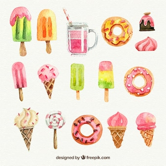 Variety of watercolor ice-cream and pastry