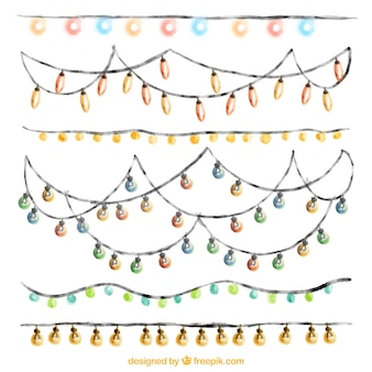 Variety of watercolor string lights