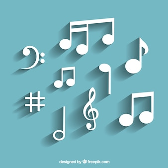 Variety of white musical notes