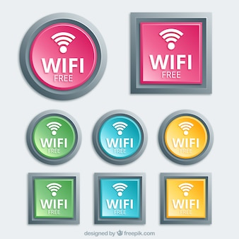 Variety of wifi buttons in realistic design