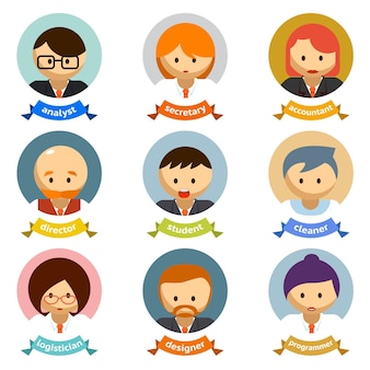 Variety office cartoon character avatars with ribbons