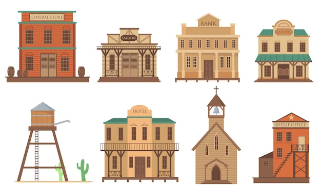Variety of old houses for western town flat item set. cartoon traditional wild west wooden buildings isolated vector illustration collection. architecture and accommodation concept