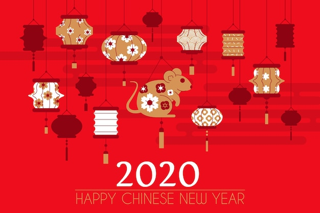 Variety of paper lanterns and mouse 2020 new year