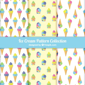 Variety of patterns with colored ice creams