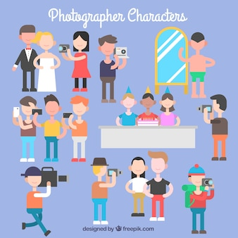 Variety of photographer characters