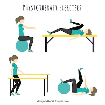 Variety of physiotherapy exercises