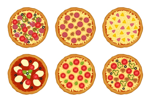 Variety of pizzas with different ingredients, view on top