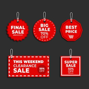 Variety of price and discount label for sales label collection