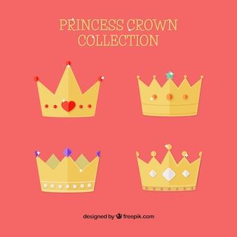Varietà di corone di princess in design piatto