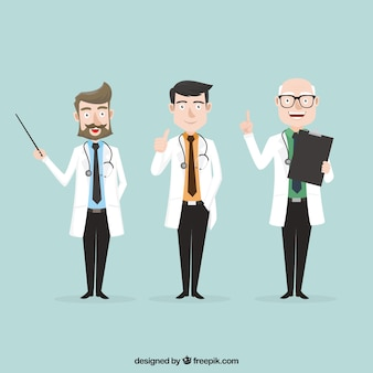 Variety of professional doctors at work