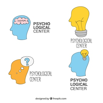 Variety of psychology logos in hand-drawn style