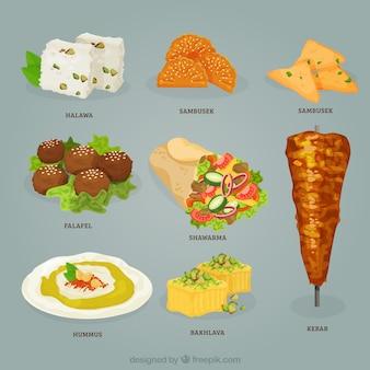 Variety of realistic arabic food