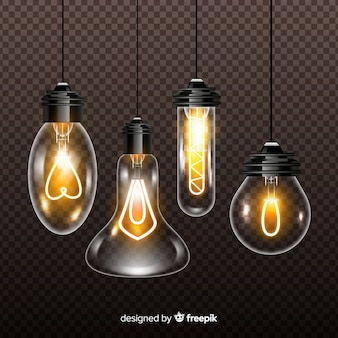 Variety of realistic light bulbs on transparent background
