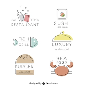 Variety of restaurants lineal logos