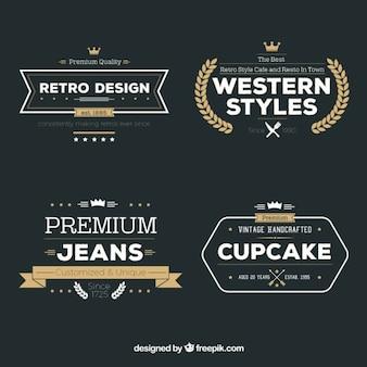 Variety of retro badges Premium Vector