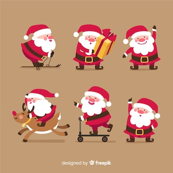Variety of santa claus postures collection