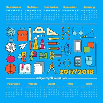 Varietà di materiali scolastici e calendario