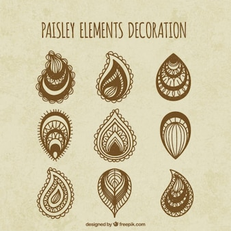 Variety of sketches paisley elements