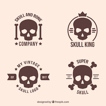 Variety of skull logos in flat design