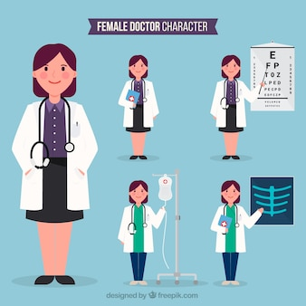Variety of specialized female doctors
