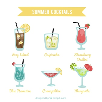 Variety of summer cocktails