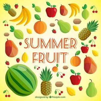 Variety of summer fruits Free Vector
