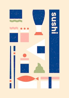 Variety of sushi geometric print template poster