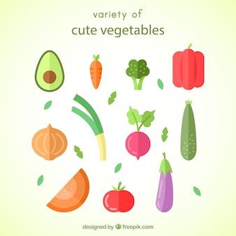 Variety of tasty vegetables in flat design