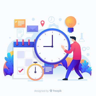 Variety of time objects and a man landing page
