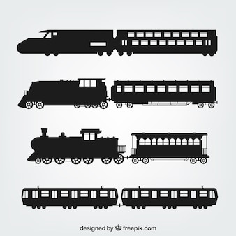 Variety of train silhouettes