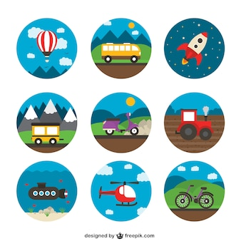 Variety of transport icons