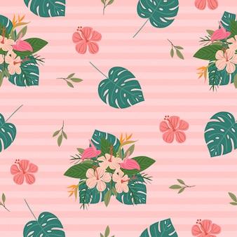 様々な熱帯の花と葉のシームレスパターン