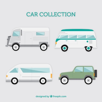 Variety of vehicles in flat design