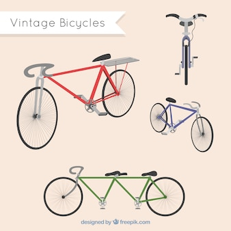 Variety of vintage bicycles