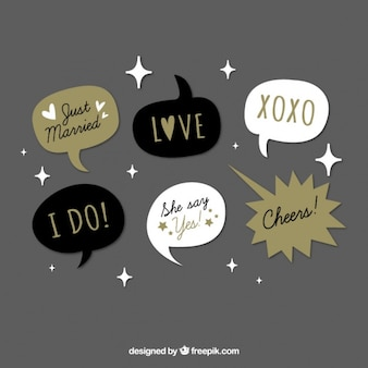 Variety of vintage dialogue balloons for wedding