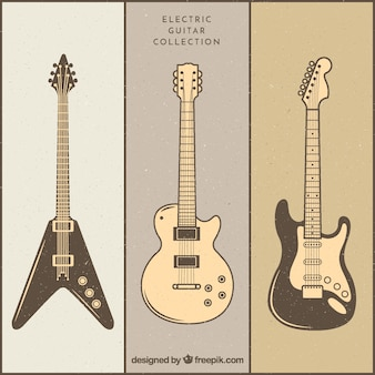 Variety of vintage electric guitars