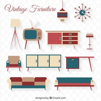 Variety of vintage furniture