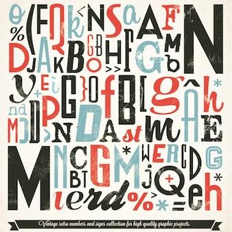 Collezione tipografia vari retro