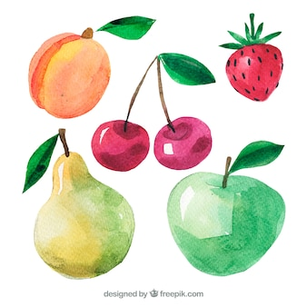Variety of watercolor pieces of fruit