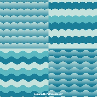 Variety of wavy patterns in blue color